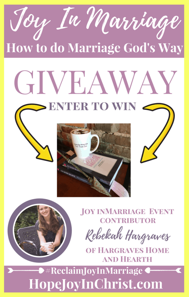Lies Moms Believe book giveaway by Rebekah Hargraves of Hargraves Home and Hearth #JoyInMarriage #MarriageGodsWay #JoyQuotes #JoyScriptures #ChooseJoy #ChristianMarriage #ChristianMarriagequotes #ChristianMarriageadvice #RelationshipQuotes #Giveaway #ChristianBooks