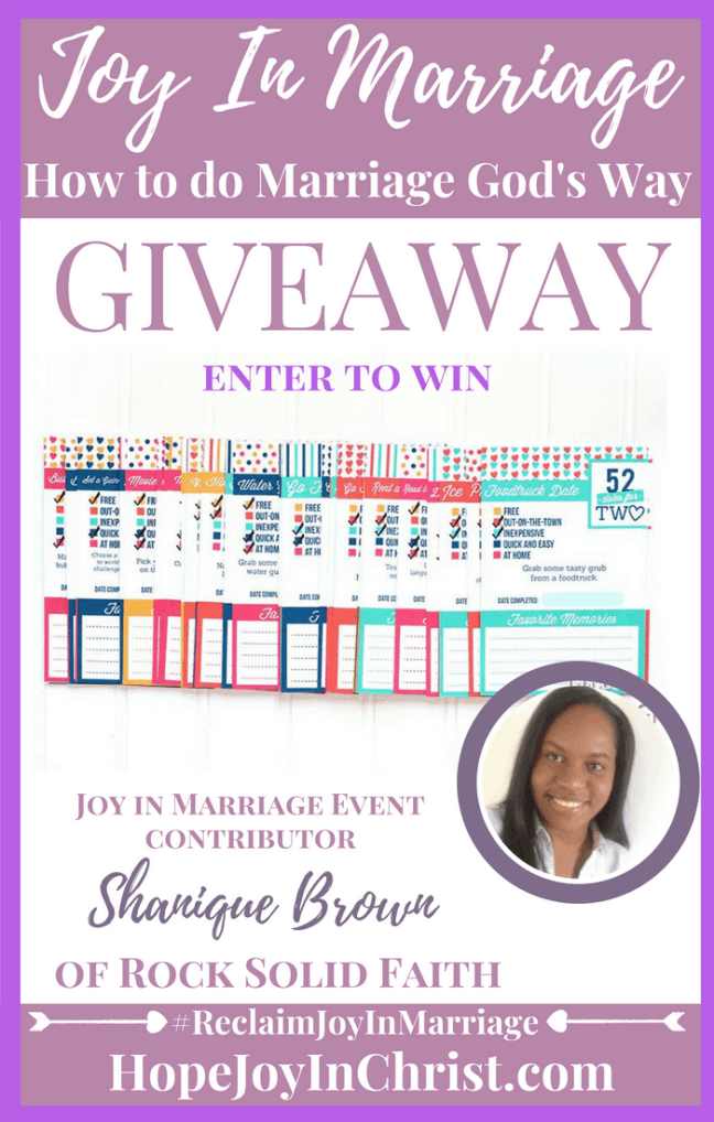 31 Ways to Reclaim joy in a Christian marriage Giveaway. Rock Solid Faith 52 Dates for Two #JoyInMarriage #MarriageGodsWay #JoyQuotes #JoyScriptures #ChooseJoy #ChristianMarriage #ChristianMarriagequotes #ChristianMarriageadvice #RelationshipQuotes #Giveaway #ChristianBooks #BloggingTips