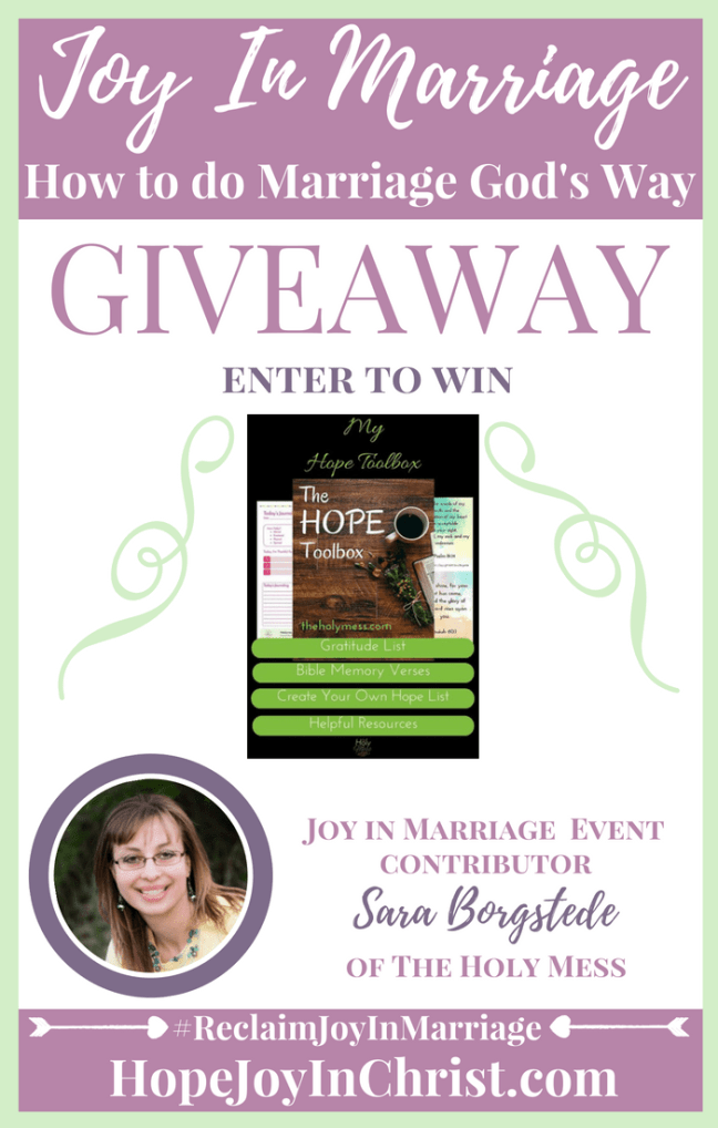 31 Ways to Reclaim joy in a Christian marriage Giveaway. Sara B from the Holy Mess is giving away My Hope Toolbox Printable #JoyInMarriage #MarriageGodsWay #JoyQuotes #JoyScriptures #ChooseJoy #ChristianMarriage #ChristianMarriagequotes #ChristianMarriageadvice #RelationshipQuotes #Giveaway #ChristianBooks