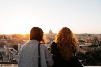 Women looking over city