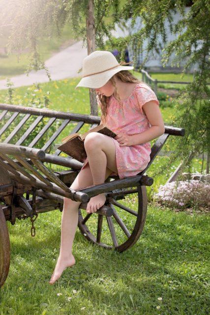 Girl Reading Outside