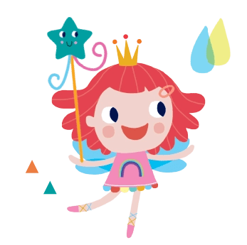 Hope the Rainbow Fairy with wand and colourful raindrops