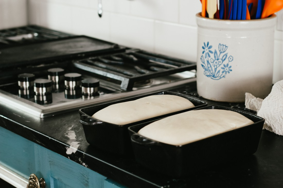 baking homemade bread with cast iron loaf pans