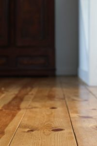 wide plank, face nailed, sugar pine floor boards in a modern farmhouse from historic floor co