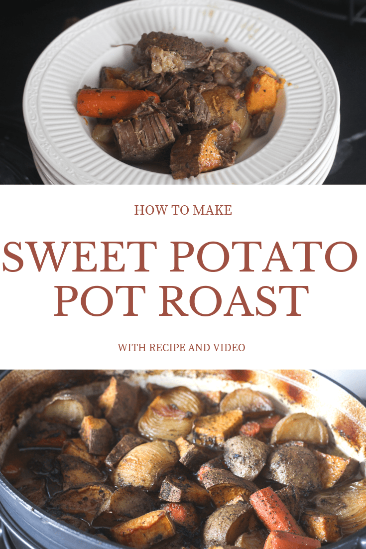 recipe and video on how to make sweet potato pot roast with red wine reduction from scratch