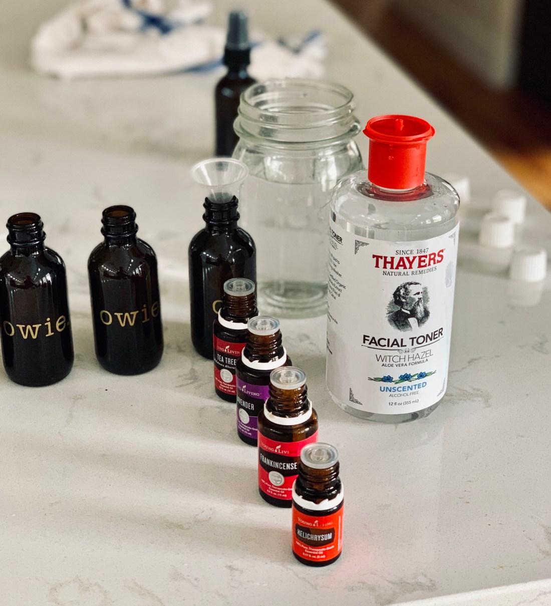 oils, amber bottles