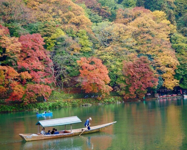 Arashiyama bursts into color during fall in Japan.