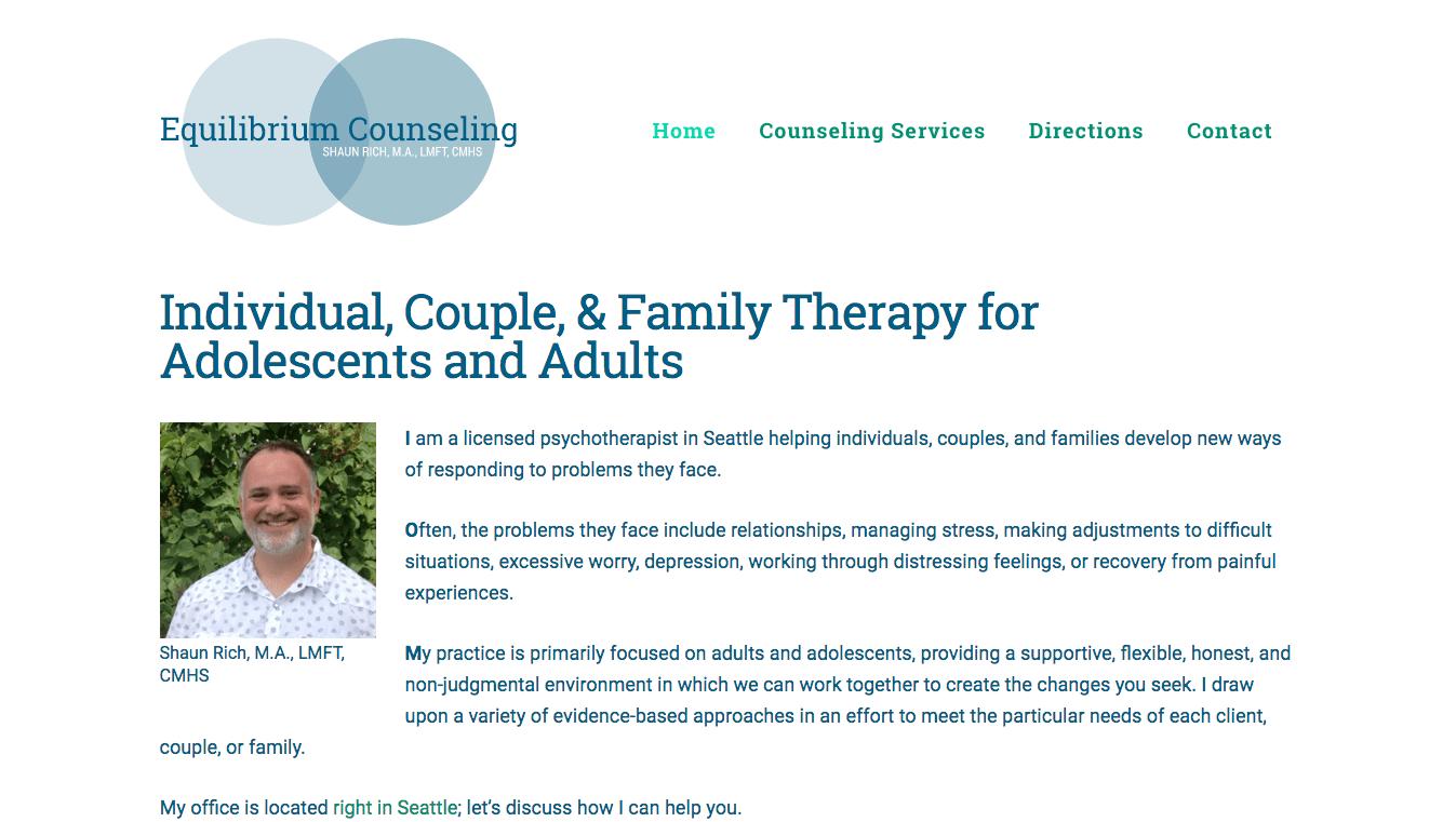 Hoppel Design website for Equilibrium Counseling