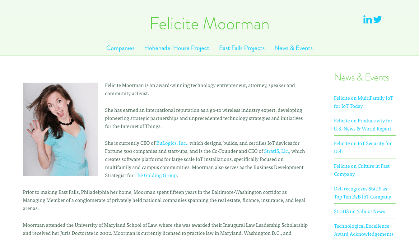 Hoppel Design website for Felicite Moorman