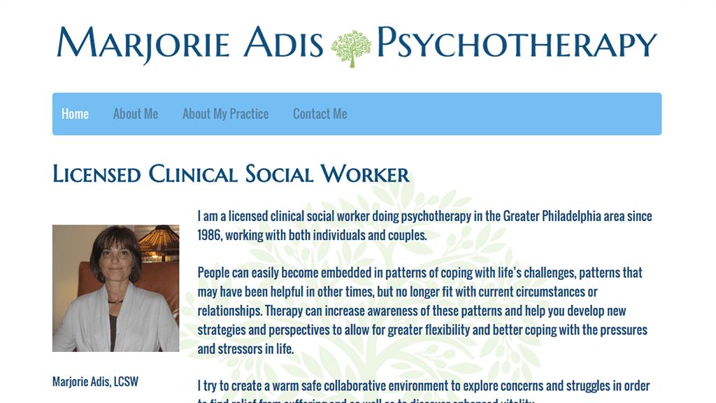 Hoppel Design website for Marjorie Adis Psychotherapy