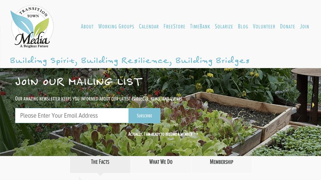 Transition Town Media website, designed by Hoppel Design