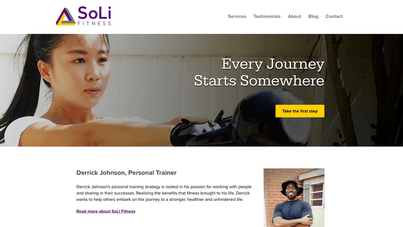 Hoppel Design website for SoLi Fitness LLC
