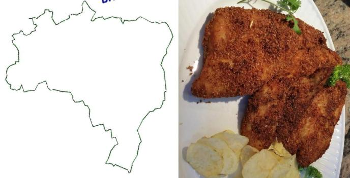 Is it me or does my fried fish look like the map of Brazil?