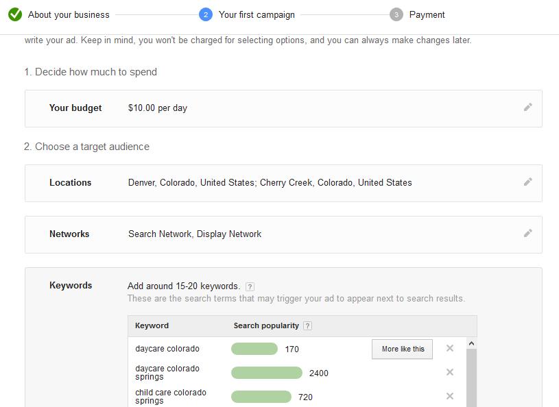 google adwords campaign setup
