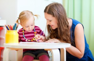 woman reading with a child