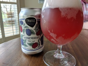 Troes Boysenberry Tart ale in glass, next to beer can.