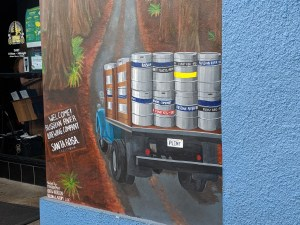 A mural on the side of the Russian River brewpub in Santa Rosa, CA.