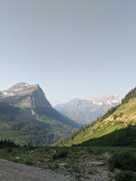 Mountains, glaciers visible near some of the peaks, tree-covered slopes. View partway up Going to the Sun Road in Glacier National Park.