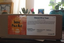 Here is the outside of the recipe box detailing what's inside and telling you what kind of beer you ordered if you didn't already know.