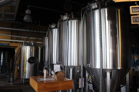 These are the fermenters, which are right up there in the taproom. Denver Beer Co. is famous for its One-Off brews and seasonal beers.