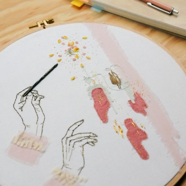 Broderie / Les mains qui peignent