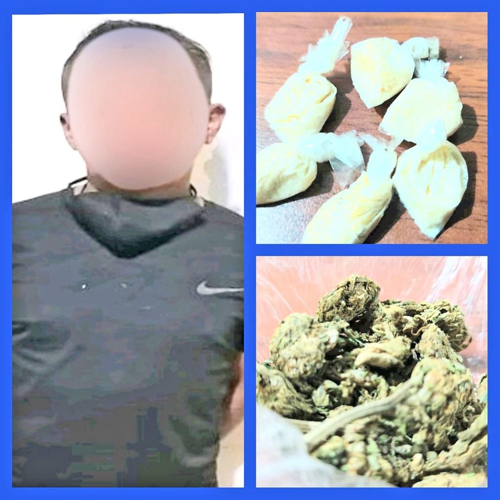 La base de cocaína y la droga que los policías Antidrogas decomisaron a Henrry J. G.