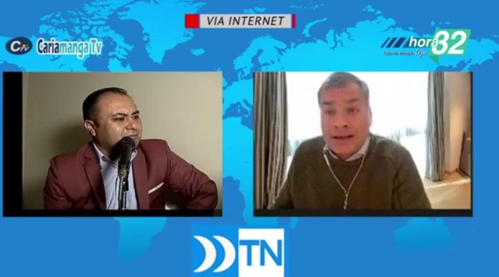 El periodista Eduardo Loaiza entrevistó virtualmente al expresidente Rafael Correa.