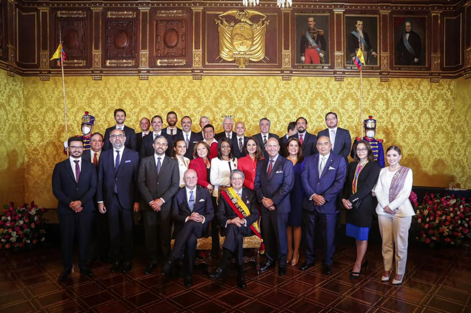 El presidente, Guillermo Lasso Mendoza, junto a los ministros de su Gobierno.