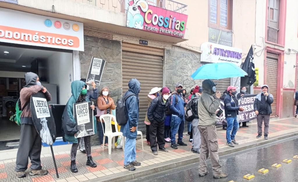 Varios plantones realizaron quienes se oponen a la minería y apoyan a Jovita C. A., Juanito A. C., Johny M. C. y Rodrigo S. T.