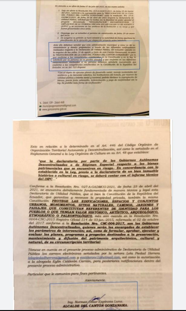 El Municipio de Gonzanamá, con fecha 13 de julio de 2021, responde a una petición presentada por la propietaria del inmueble.