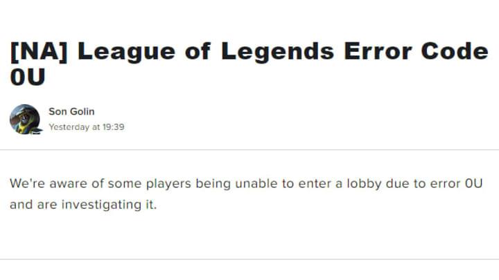 Código de error de League of Legends OU: cómo solucionarlo