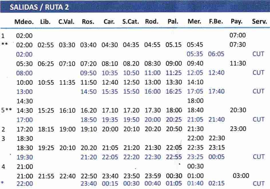 horarios salidas por ruta 2