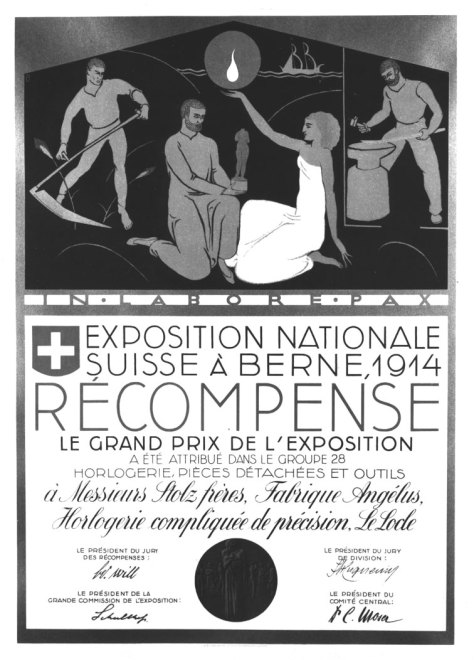 Angelus -1914-Award-Swiss-National-Exhibition-Berne