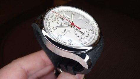 IWC Portugieser Yatch Club Chronograph acero y esfera plateada de perfil