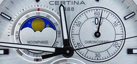 Certina DS 8 Chronograph Moon Phase esfera gris claro - detalle