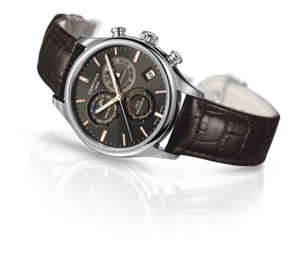Certina DS 8 Chronograph Moon Phase esfera gris oscuro