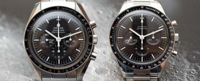"""El Omega Speedmaster Moonwatch actual a la izquierda, y el 321 """"Ed White"""" a la derecha"""