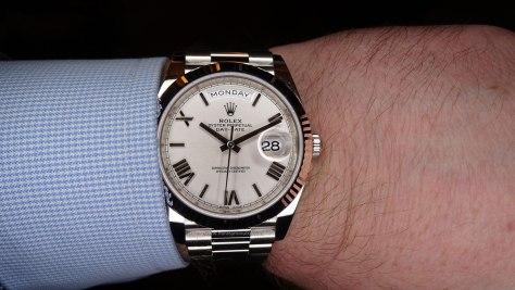 Rolex Oyster Perpetual Day Date oro blanco esfera cuartos Horas y Minutos