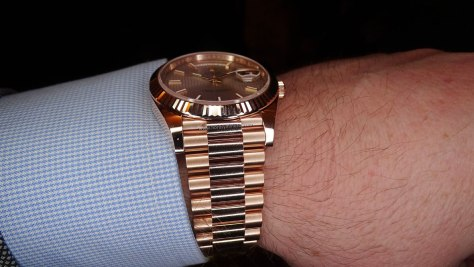 Rolex Oyster Perpetual Day Date oro everose brazalete president Horas y Minutos