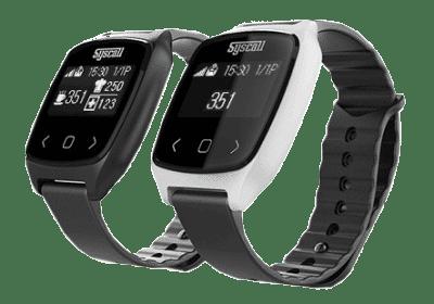 Obrazek pokazuje pager SB-700 - jest to pager w kształcie zegarka zakładany przez kelnera na rękę