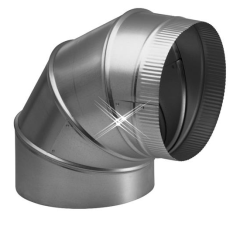 Aluminium bocht 90 graden 130 mm