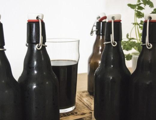 Bière noire après le temps de pause