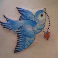 青い鳥のタトゥー画像
