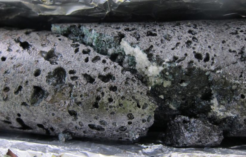 The CarbFix2 project in Iceland injects CO2 in liquid form, rather than as a gas, into porous basaltic rock underground. The CO2 reacts with the rock to form less harmful calcite. Image credit: Sandra O. Snaebjornsdottir, CarbFix