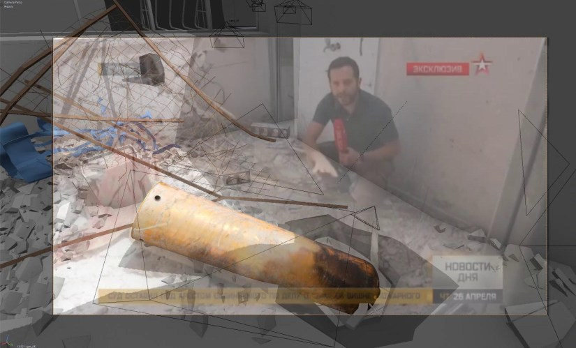 Forensic Architecture's reconstruction of a 2018 attack in Douma, Syria, based on a Russian TV report, showed that the canister came in a harness (in blue) made for aerial ammunition. When it was dropped, the canister tore through a wired fence (in brown) before discharging the chlorine gas, confirmed by the discoloration caused by corrosion near the nose. Image credit - Forensic Architecture