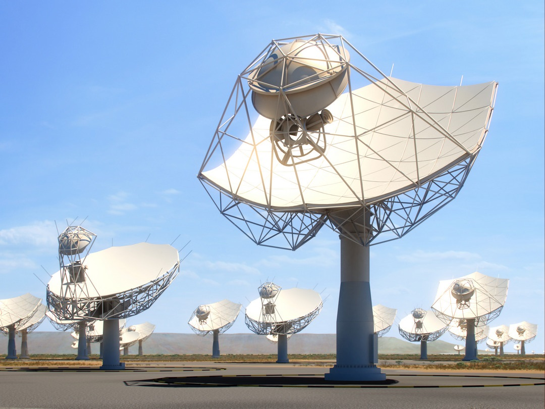 The Square Kilometre Array, which is depicted through an artist's impression, will begin construction in 2020.