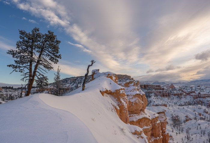 Bryce Canyon Sunrise in Winter with snow and clouds