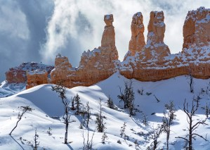 Bryce Canyon in Winter with snow and hoodoos