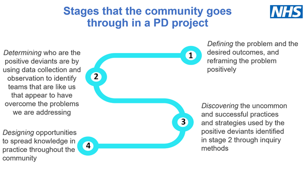 Graphic showing the stages that the community goes through in a PD project