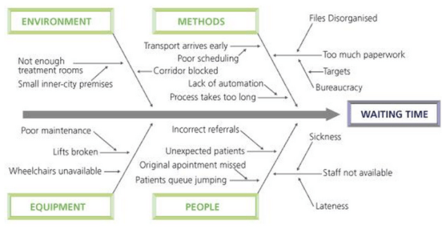 Fishbone diagram showing cause and effect issues